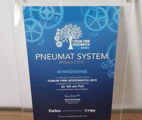 Pneumat System w rankingu miesięcznika Forbes Forum Firm Rodzinnych 2019