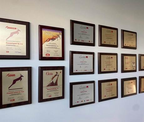 nagrody, które otrzymała firma Pneumat.