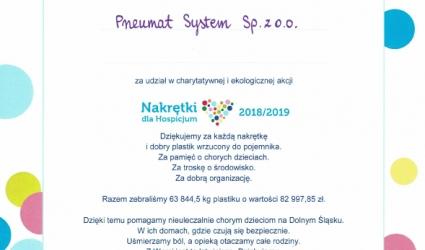 Dyplom za udział w akcji charytatywnej od Wrocławskiego Hospicjum dla Dzieci